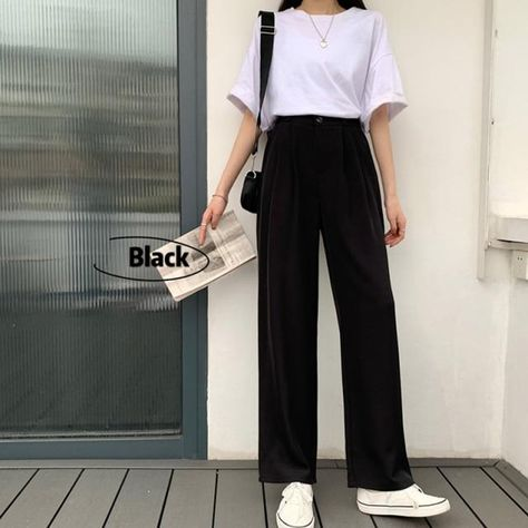 Straight Trousers - Black / S