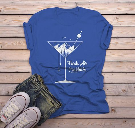 b57f28b9 Men's Hipster T Shirt Fresh Air Cocktails Nature Graphic Tee Martini Glass  Mountains