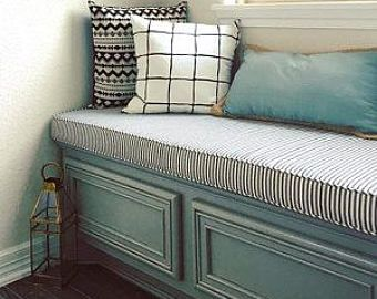 Custom Window Seat or Bench Cushions and Covers with Piping