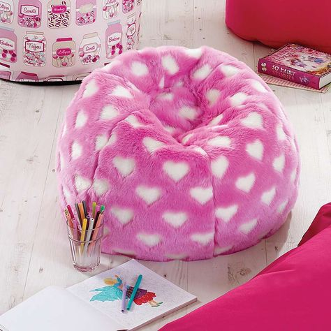 Kids Fur Heart Scrunchie Beanbag | Dunelm | Dunelm
