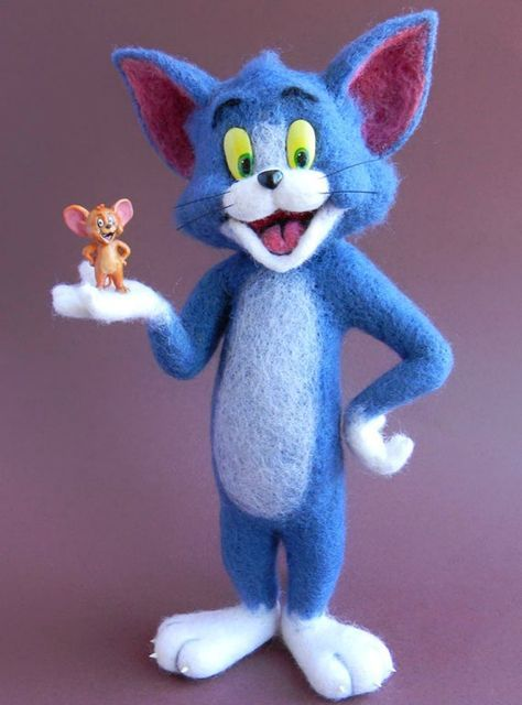 Needle FeltEd Animals Tom and Jerry, Wool Art Sculpture Felted Wool FigurineFelt Wool Toy Felt Doll