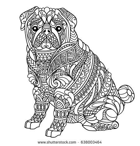 Pug Coloring Book For Adults Raskraski S Zhivotnymi Raskraski