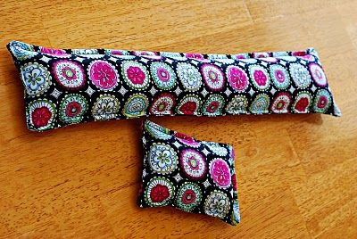 computer keyboard wrist rest - I do this, but I use feed corn or flax seed and scent. Then they can be heated for pocket hand warmers or heating pad. Most fabrics are microwave safe - just make sure you DO NOT have a dirt microwave tray - then it will burn into your fabric.
