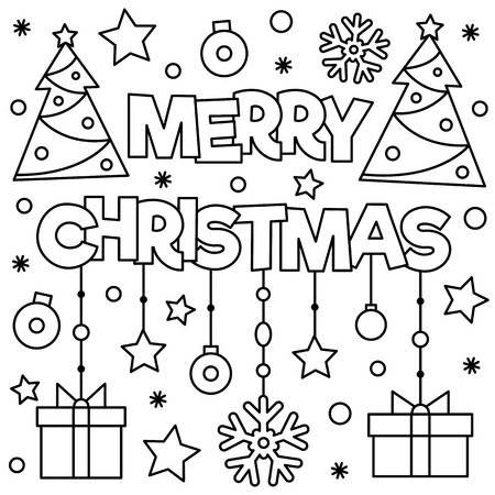 Coloring Page Black And White Vector Illustration Of Christmas Printable Christmas Coloring Pages Christmas Coloring Sheets Christmas Coloring Pages
