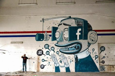 LIKE! Mister Thoms  http://www.thisiscolossal.com/2014/07/cartoony-mural-depicts-man-obsessing-over-facebook-likes/