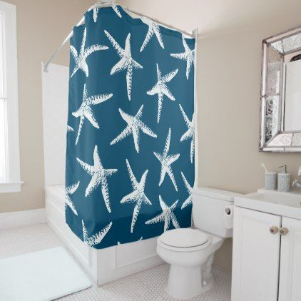 Coastal White Starfish Navy Blue Shower Curtain Zazzle Com Navy Blue Shower Curtain Blue Shower Curtains Coastal White