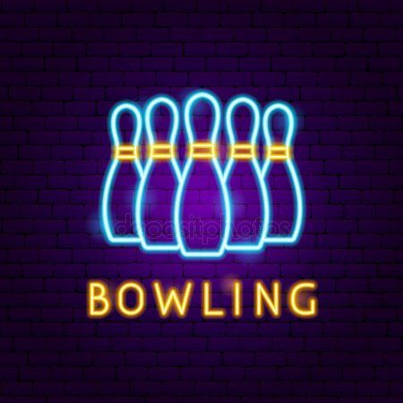 Bowling Neon Label Stock Vector Sponsored Neon Bowling Label Vector Ad Brand Identity Business Cards Neon Neon Signs