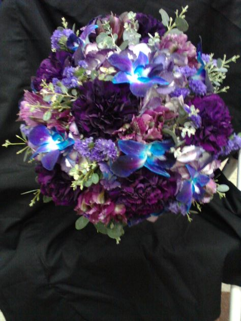 Purple and Blue Bridal bouquet, Toni's Bloomers