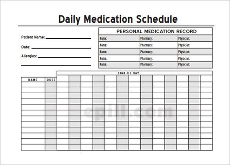 Home Medication Chart Template Printable Daily Schedule