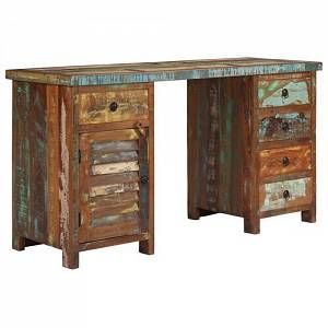 Bloomsbury Market Poulan Desk Office Furniture Decor Reclaimed Wood Desk Pedestal Desk