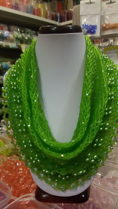 Bead Scarf - I always love green color.