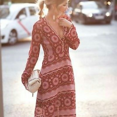 Zara New Red Midi Dress With Embellished Lace Crochet Lined 7940 622 Small S Red Midi Dress Nice Dresses Dresses