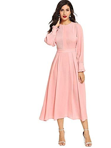 Milumia Women S Elegant Frilled Long Sleeve Pleated Fit Flare Dress At Amazon Women S Clothing Store Fit Flare Dress Flare Dress Long Sleeve Dress