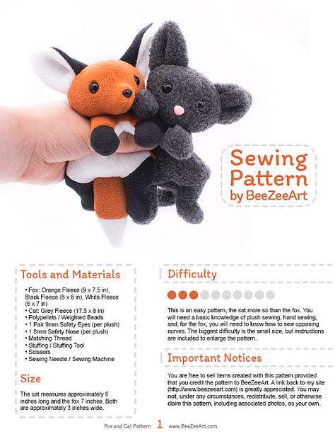 This item is a digital download for a plush toy sewing pattern in .pdf form. Absolutely no physical items will be sent. Please read the entire listing before purchasing. This sewing pattern has the best of both worlds! The patterns and instructions to make both a fantastically floppy fox