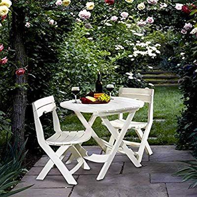 Tall Round Bistro Table Set 3 Piece White