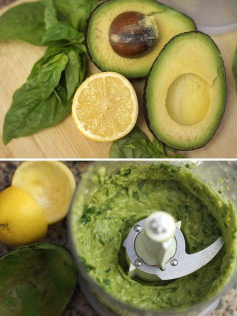 avocado pesto recipe - vegan AND paleo! i love this on spaghetti squash - so flavorful. i add a little apple cider vinegar to make it tangy and skip the salt. i also just mash it in a small bowl because i don't own a food processor - works just as well. if you're using dried basil, make ahead of time and let chill to allow the flavor to develop.