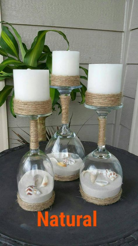 Seashell and Sand Wine Glass Candle Holders Set of 3 | Etsy