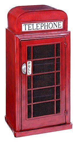 Meuble étagère En Métal London, L 48 X P34.5 X H 96.5 Cm  PEGANE : Price: Meuble étagère Cabine Téléphonique Anglaise En Métal. Dimensions :u2026