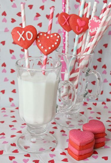 Straws + heart-shaped cookies + a big glass of milk = the cutest way to enjoy Valentine's Day.