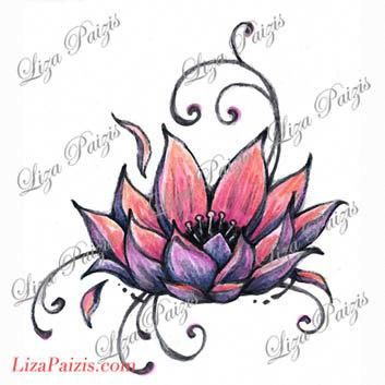 Lotus Tattoo Design Pink Lotus Flower Waterlily Tattoo By Liza Paizis Lotus Tattoo Design Lily Tattoo Design Water Lily Tattoos