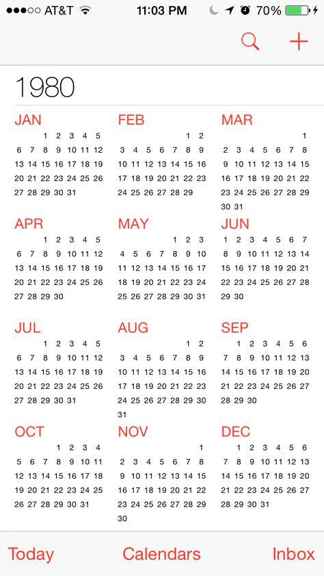 1980 Calendar Calendar List View Calendar App Calendar