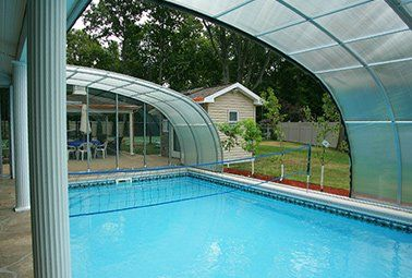 In Ground Pool Retractable Enclosure Retractable Pool Enclosures Aqua Shield Pool Enclosures Pool Indoor Outdoor Pool