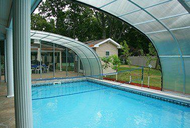 In Ground Pool Retractable Enclosure Retractable Pool Enclosures Aqua Shield Pool Enclosures Pool Indoor Outdoor Pool