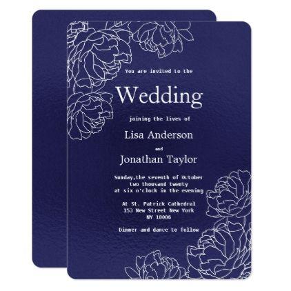 Elegant Navy Blue White Floral Modern Wedding Card Wedding