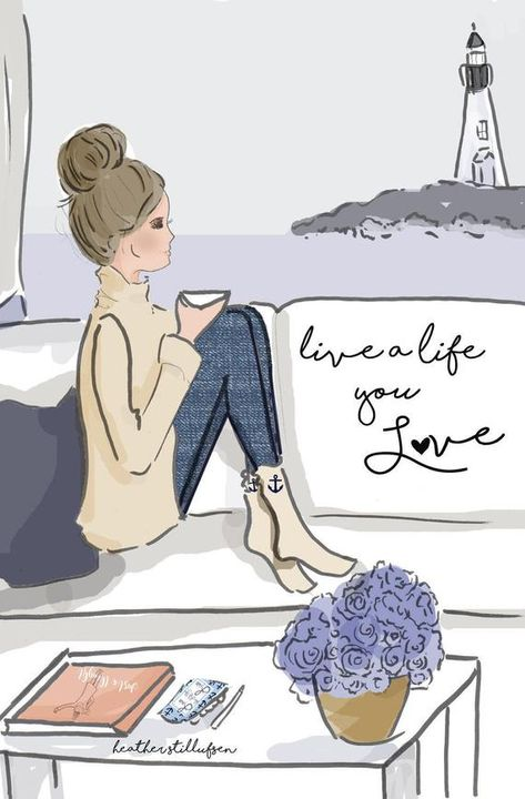 Live a Life You LOVE * hand drawn and colored digitally * This is a print of my original illustration. * Printed on archival fine art paper. * She will come signed and dated by me, the artist Heres What People Are Saying About Heathers Work So delicate and pretty Beautiful pictures and words
