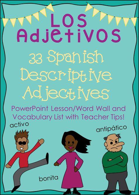 Animated PowerPoint presentation on 33 Spanish descriptive adjectives ...