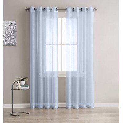 Rosdorf Park Alford Solid Color Semi Sheer Grommet Curtain Panels Curtain Color Silver Size 54 W X 84 L White Paneling Grommet Curtains Elegant Curtains 108 inch sheer curtain