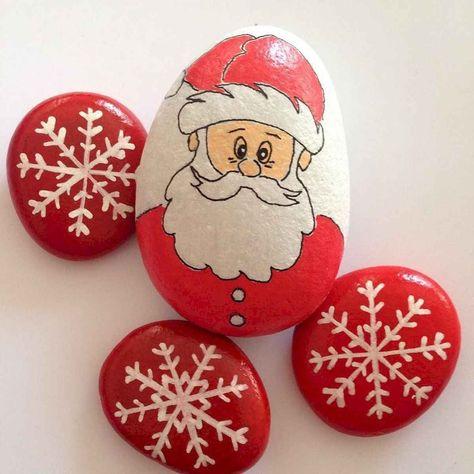 50 Easy DIY Christmas Painted Rock Design Ideas 30 christmas #50 #easy #diy #christmas #painted #rock #design #ideas #30