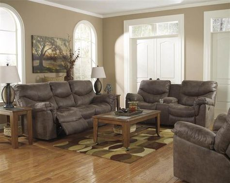 Alzena Gunsmoke Faux Leather Living Room Set Living Room Collections Leather Reclining Sofa Living Room Sets