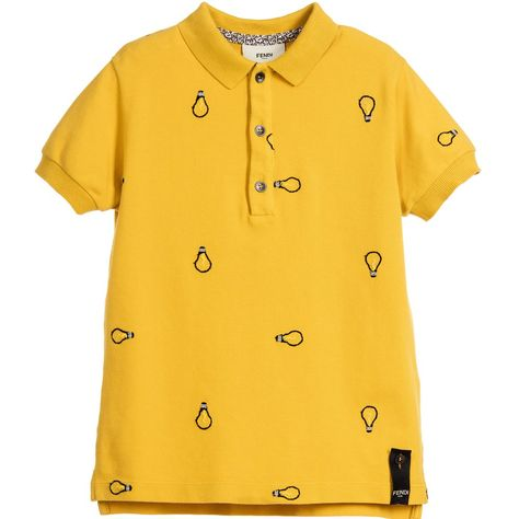 d5a93306040f Fendi - Boys Yellow Cotton Piqué  Lightbulb  Polo Shirt ...