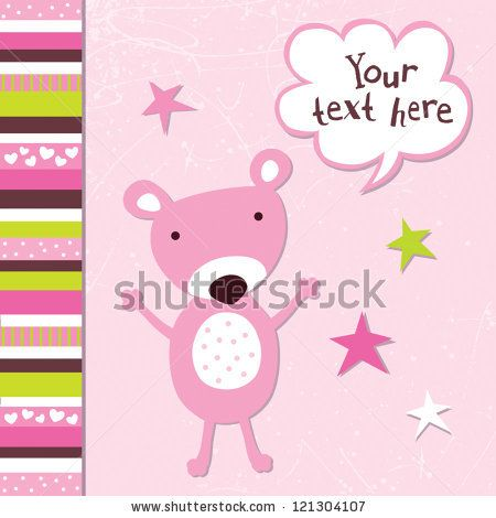 Vector greeting card template for a baby girl with cute teddy bear - greeting card template
