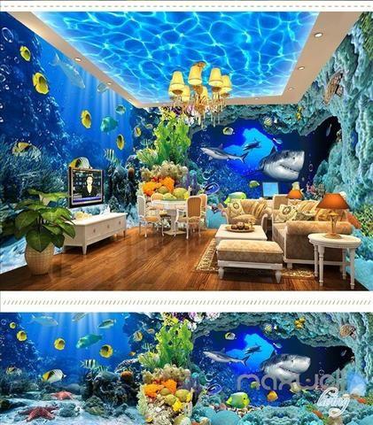 Underwater World Aquarium Theme Space Entire Room Wallpaper
