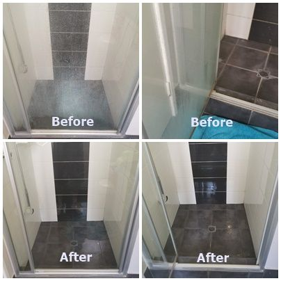 Before And After Shots Of A Recent Shower Screen Clean In Perth S Northern Suburbs Removing Calcium Deposits On The Glass Do In 2020 Tile Floor