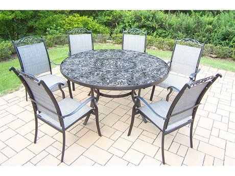 Oakland Living Cascade 7piece Black Set With 60inch Round Table And 6 Stackable Chairs Check Out Patio Dining Furniture Oakland Living Dining Furniture Sets 60 inch round outdoor dining table