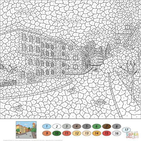 Old Town Street Color By Number Super Coloring Abstract Coloring Pages Coloring Pages Free Printable Coloring Pages