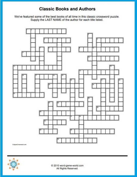 Free Crossword Puzzles To Print Classic Books Authors Crossword Puzzles Printable Crossword Puzzles Classic Books