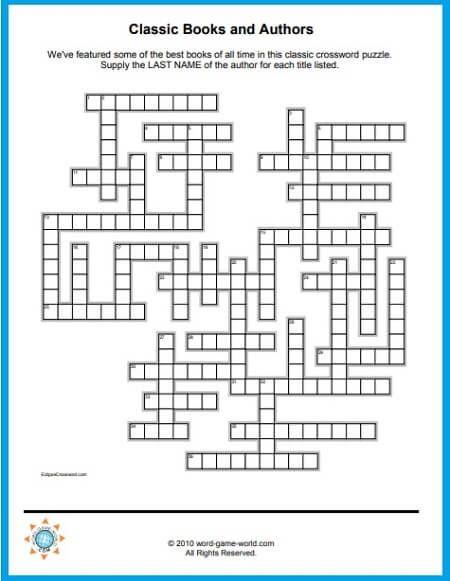 Free Crossword Puzzles To Print Classic Books Authors Crossword Puzzles Printable Crossword Puzzles Free Printable Crossword Puzzles