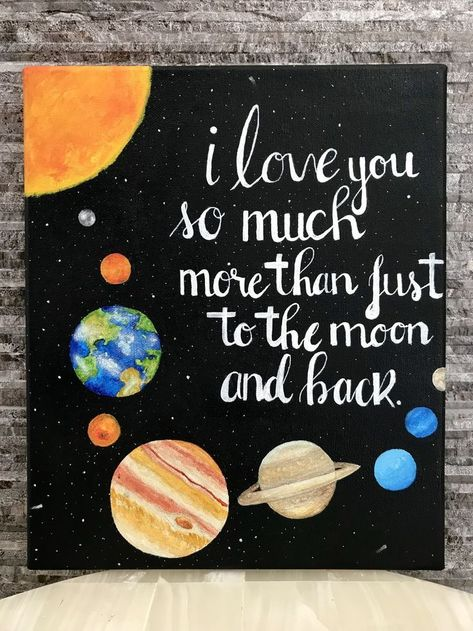 I love you so much more than just to the moon and back Painting by: Carlos caro.... - #Carlos #caro #love #Moon #painting
