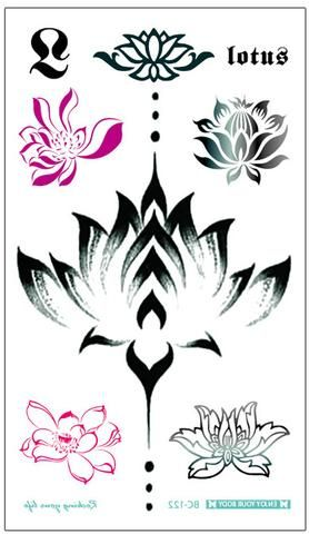 Alexi Black Watercolor Floral Lotus Flower Temporary Tattoo Floral Watercolor Flower Tattoos Hawaiian Tattoo