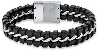 Seta Jewelry Men's Woven Black Leather Braided Bracelet With Magnetic Closure In 9 Inch.