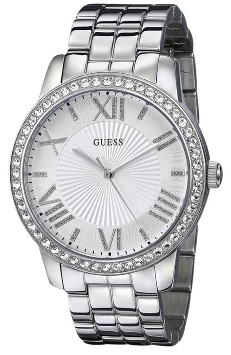 Guess Watch for Women GUESS Women's Crystal-Accented Stainless Steel Watch — You can find out more details at the link of the image. (This is an affiliate link) Discovred by : Wristwatch