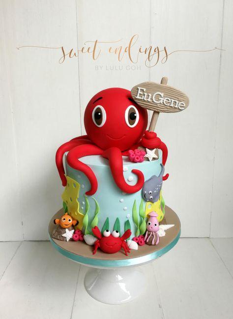 - Kuchen von Lulu Goh - Pin This Ocean Birthday Cakes, Ocean Cakes, Beach Cakes, First Birthday Cakes, 3rd Birthday, Octopus Cake, Decors Pate A Sucre, Nautical Cake, Mermaid Cakes