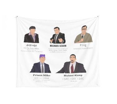 The Faces Of Michael Scott Tapestry By Maria Fisher In 2020 Dorm Tapestry Girl Apartment Decor Room Tapestry
