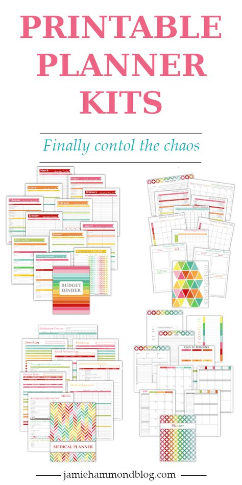 Printable PDF Planner kits to organize your life and control the chaos.
