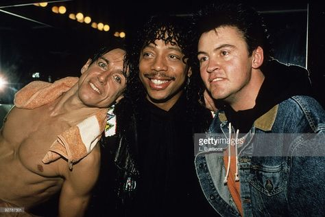 Iggy Pop, Rick James and Paul Young pose backstage after an 1986 Iggy Pop concert at The Ritz in New York City.