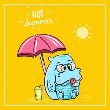 Cute Hippopotamus Holiday On The Beach In The Summer Time Time Icons Cute Icons Summer Icons Png And Vector With Transparent Background For Free Download Holiday Logo Summer Time Holiday Illustrations